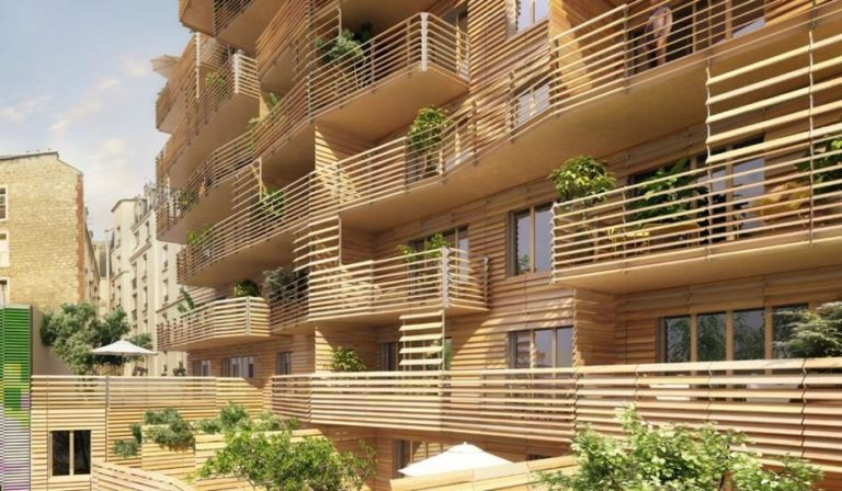 façade d'immeuble faite de bois